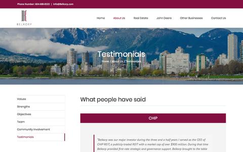Screenshot of Testimonials Page belkorp.com - Testimonials - Belkorp - captured Oct. 10, 2017
