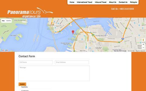 Screenshot of Contact Page panorama-tours.com.my - Contact | Panorama - captured Jan. 24, 2016