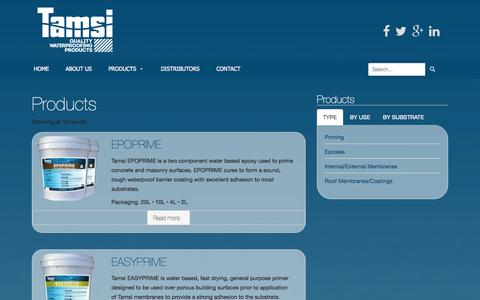 Screenshot of Products Page tamsi.com.au - Products   Tamsi   Quality Waterproofing Products - captured Nov. 5, 2014