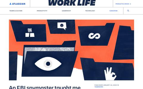 Screenshot of Blog atlassian.com - I learned how to read my coworkers from an FBI spymaster - Work Life by Atlassian - captured Feb. 8, 2020
