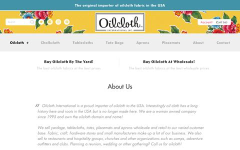 Screenshot of About Page oilcloth.com - About Us – Oilcloth International, Inc. - captured Oct. 19, 2018