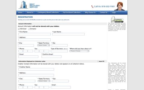 Screenshot of Signup Page rentrecoveryservice.com - Registration of Individual - Rent Recovery Service - captured Oct. 7, 2014