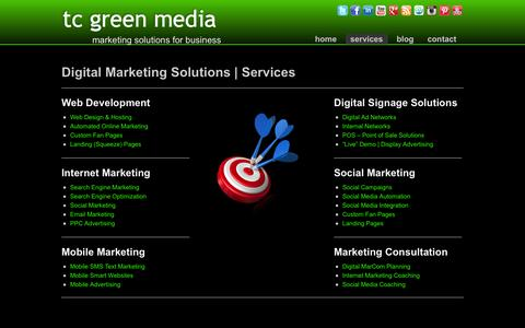 Screenshot of Services Page tcgreenmedia.com - Digital Marketing Solutions | Services - TC Green Media - captured Oct. 9, 2014