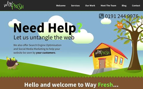 Screenshot of Home Page wayfresh.co.uk - Web Design in Newcastle upon Tyne, Northumberland & North East   Way Fresh - captured Jan. 10, 2016