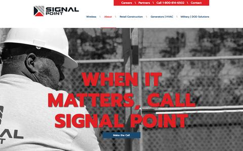 Screenshot of About Page sigpoint.com - About - Signal Point Systems - captured June 20, 2019