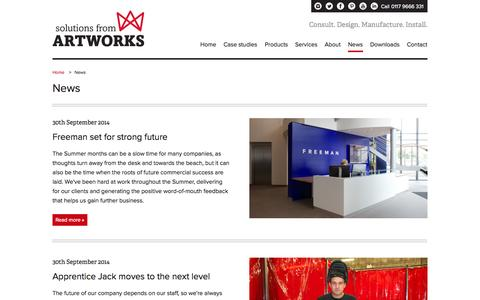 Screenshot of Press Page artworks-solutions.com - News - Artworks Solutions Ltd - captured Oct. 4, 2014