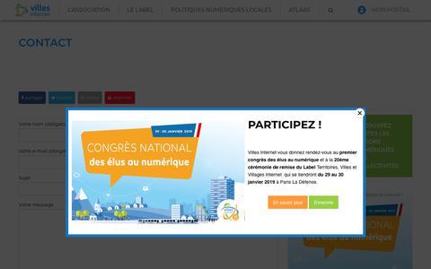 Screenshot of Contact Page villes-internet.net - Contact - Villes internet - captured Dec. 13, 2018