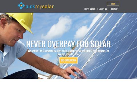 Screenshot of Home Page pickmysolar.com - Pick My Solar | Free Competitive Bids From Your Areas Best Solar Companies - captured Oct. 3, 2014