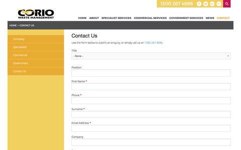Screenshot of Contact Page coriowm.com.au - Contact Us | Corio Waste Management - captured Aug. 26, 2017