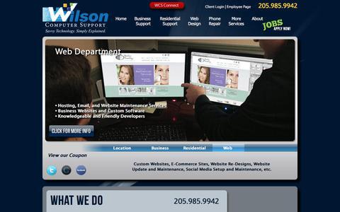Screenshot of Home Page wilsoncomputer.com - Wilson Computer Support | Birmingham Alabama Computer Repair, Website Design, and Hosting. - captured Aug. 10, 2019