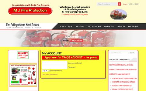 Screenshot of Login Page mjfireprotection.co.uk - My Account - Fire Extinguishers Kent Sussex - captured July 8, 2016