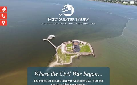 Screenshot of Home Page fortsumtertours.com - Fort Sumter Tours – Showcasing the beauty of Charleston, S.C. from its fabulous waterways since 1961 - captured March 16, 2016