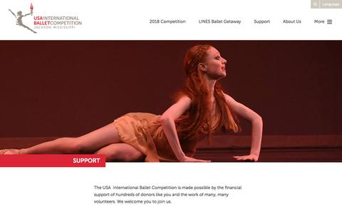 Screenshot of Support Page usaibc.com - Support - International Ballet Competition - captured Dec. 1, 2016