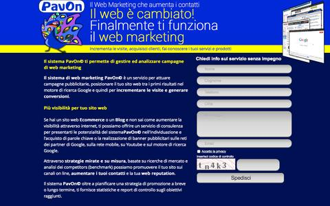 Screenshot of Home Page pavon.it - PavOn - Il sistema per strategie di web marketing - captured Sept. 6, 2015