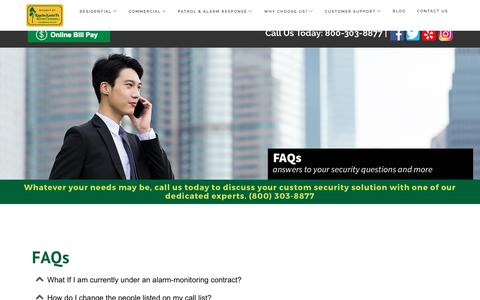 Screenshot of FAQ Page rsfsecurity.com - Why RSF FAQs - captured Oct. 19, 2017