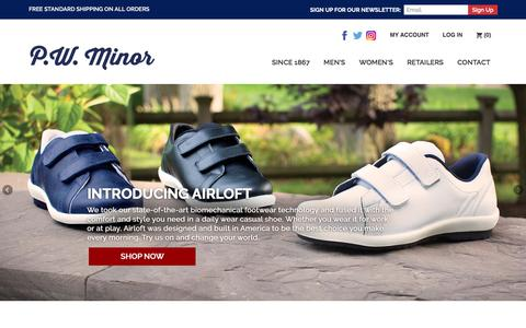 Screenshot of Home Page pwminor.com - PW Minor | American Shoemakers - captured Dec. 6, 2016