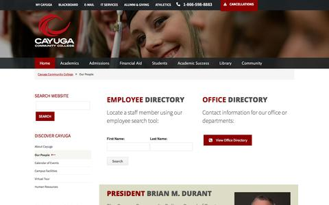 Screenshot of Team Page cayuga-cc.edu - Our People - captured Sept. 23, 2018