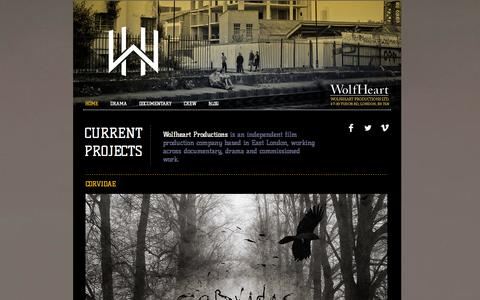 Screenshot of Home Page wolfheartproductions.com - Wolfheart Productions - captured Oct. 9, 2014