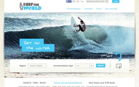 Screenshot of Home Page surf-the-world.com - Surf accommodations, surf holidays and surf trips on surf the world - captured Oct. 1, 2014