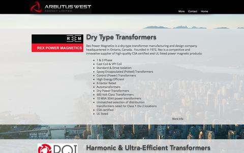 Screenshot of Products Page arbutuswest.com - Represented Manufacturers | Vancouver | Arbutus West Agency Ltd. - captured Oct. 8, 2017