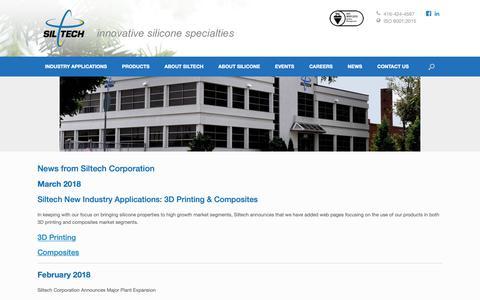 Screenshot of Press Page siltech.com - NEWS - Siltech Corporation - captured Oct. 2, 2018