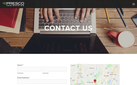 Screenshot of Contact Page prescoinc.com - Contact Us — Presco Inc. - captured July 21, 2018