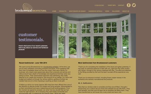 Screenshot of Testimonials Page brookeswood.com - testimonials - captured Oct. 5, 2014