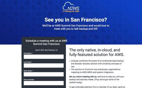 Screenshot of Landing Page n2ws.com - Meet N2WS at AWS Summit 2018 - captured May 26, 2018