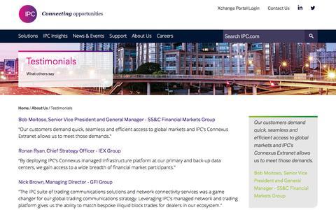 Screenshot of Testimonials Page ipc.com - Testimonials   IPC - captured Sept. 22, 2018
