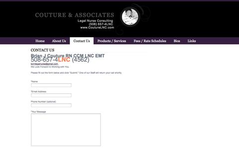 Screenshot of Contact Page webs.com - Contact Us - Couture & Associates - captured Sept. 13, 2014