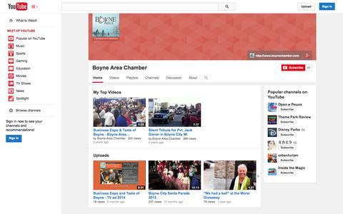 Screenshot of YouTube Page youtube.com - Boyne Area Chamber  - YouTube - captured Oct. 23, 2014
