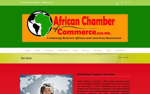 Screenshot of Services Page accnola.com - African Chamber Of Commerce Services And Support - captured Oct. 4, 2014
