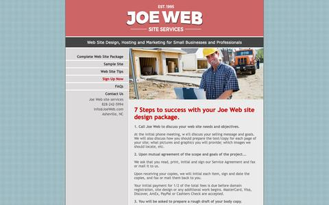 Screenshot of Signup Page joeinfo.com - Contact Joe Web site design services - captured Oct. 31, 2018
