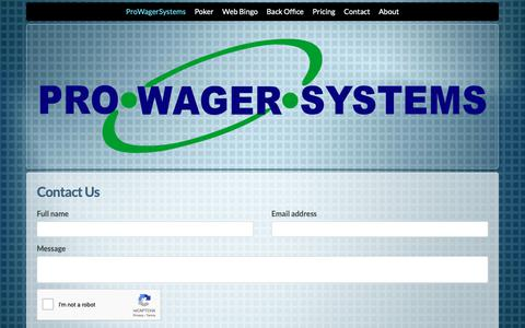 Screenshot of Contact Page prowagersystems.com - ProWagerSystems - Enterprise Poker & Bingo Software - captured Dec. 8, 2018