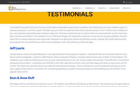 Screenshot of Testimonials Page rksolar.net - Testimonials - RK Solar - captured April 20, 2019