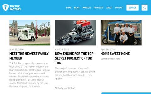 Screenshot of Press Page tuktukfactory.com - News | Tuk Tuk Factory - captured Dec. 6, 2016
