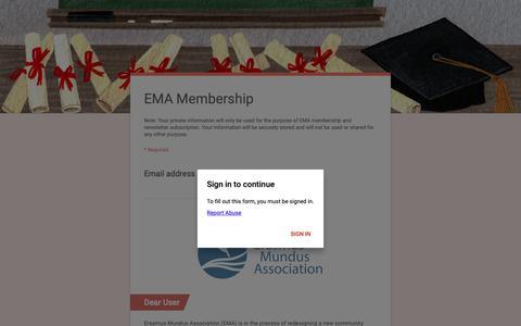 Screenshot of Signup Page google.com - EMA Membership - captured Nov. 10, 2018