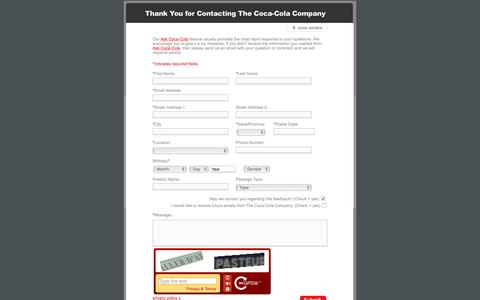 Screenshot of Landing Page coca-colacompany.com - Coca-Cola - eQuery Form - Product - captured Aug. 13, 2016