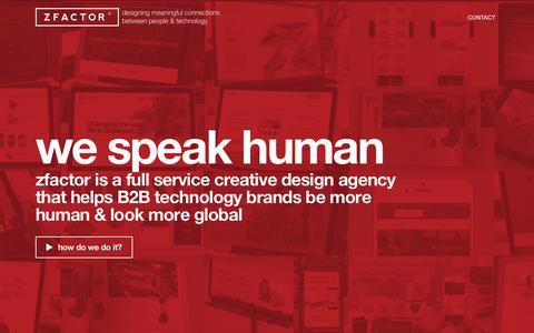 Screenshot of Home Page zfactor.com - zfactor - Kitchener Waterloo Graphic Design Website Branding | Full Service B2B Business to Business Creative Design Agency - captured Oct. 2, 2019