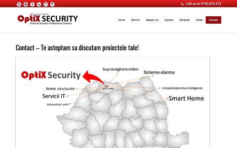 Screenshot of Contact Page optix.ro - Contact – Te asteptam sa discutam proiectele tale! – OptiX Security System - captured Oct. 21, 2017