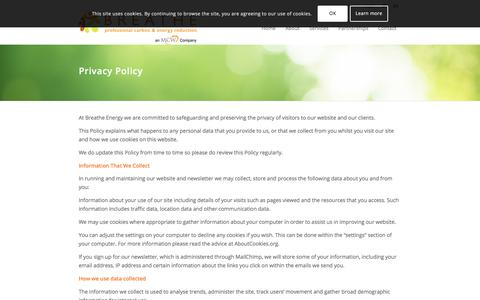 Screenshot of Privacy Page breatheenergy.com - Privacy Policy - Breathe Energy - captured Aug. 3, 2018
