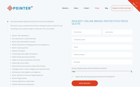 Screenshot of Pricing Page pointerbrandprotection.com - Pointer Price Request - Pointer Brand Protection - captured July 9, 2018
