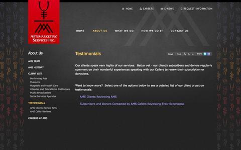 Screenshot of Testimonials Page artsmarketing.com - Testimonials | Artsmarketing Services Inc. - captured Oct. 4, 2014