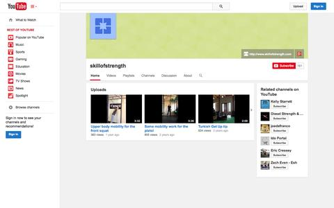 Screenshot of YouTube Page youtube.com - skillofstrength  - YouTube - captured Oct. 26, 2014