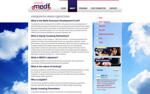 Screenshot of FAQ Page medf.ca - Frequently Asked Questions | Metis Economic Development Fund - captured Oct. 27, 2014