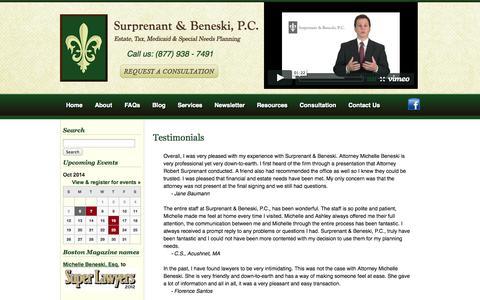 Screenshot of Testimonials Page the-sb-lawfirm.com - Elder care, Medicaid, MassHealth and tax needs attorneys Testimonials - captured Oct. 7, 2014