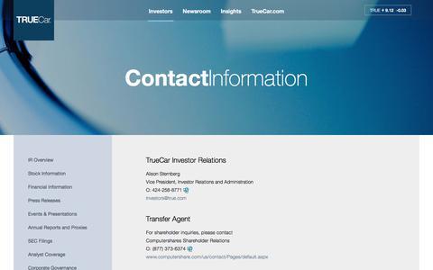 Screenshot of Contact Page true.com - Contact Information - TrueCar - captured Oct. 17, 2016