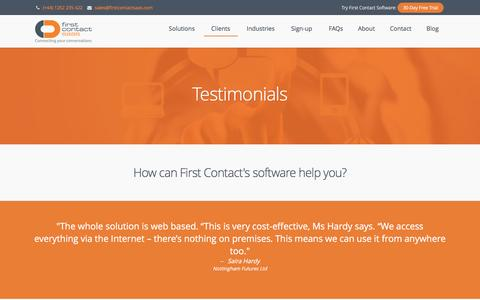 Screenshot of Testimonials Page firstcontactsaas.com - Call Scripting Centre Case Studies | First Contact SaaS - captured Nov. 25, 2016