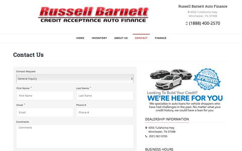 Screenshot of Contact Page chusedcars.com - Contact Russell Barnett Auto Finance Dealership Winchester TN 37398 - captured July 9, 2017