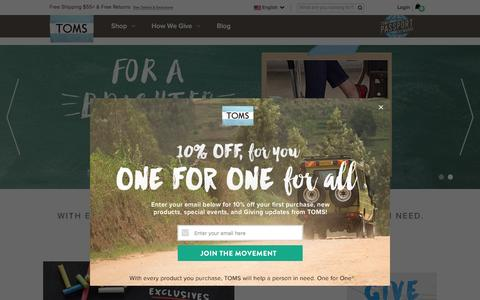 Screenshot of Home Page toms.com - TOMS® Official Site | The One for One® Company - captured Aug. 3, 2016